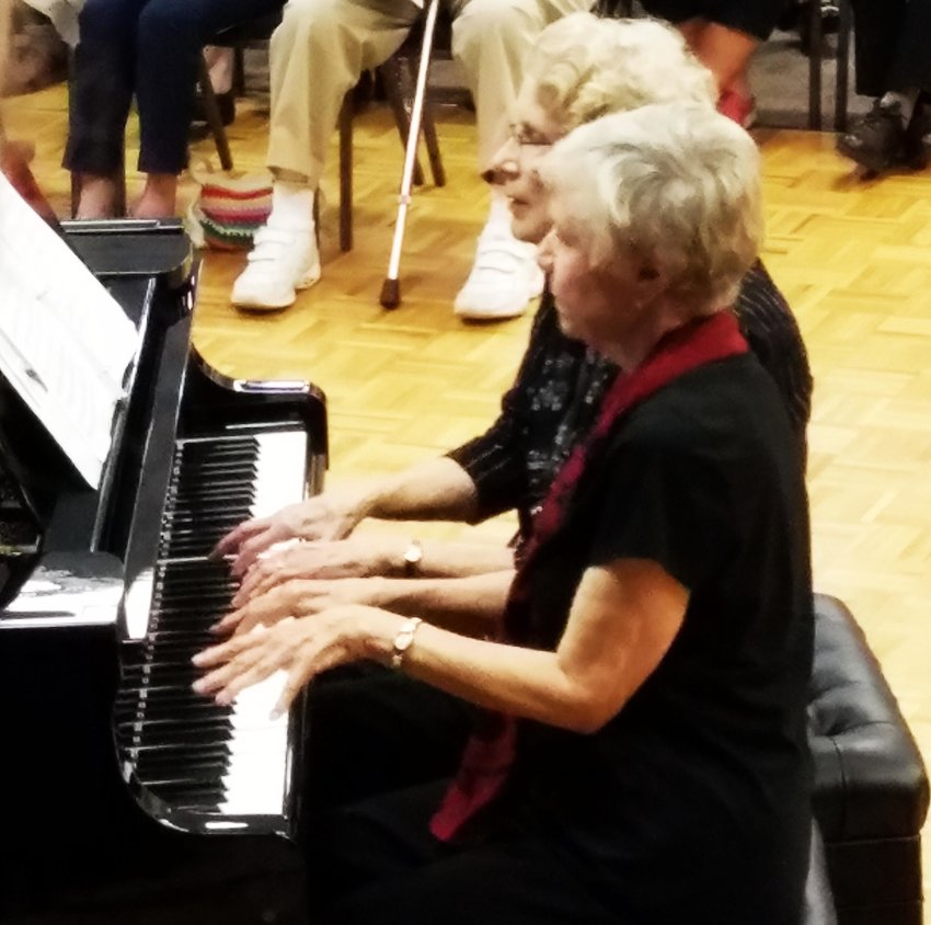 A past piano recital at Westbrook Village in Peoria featured a duet with Carol Morse and Kathryn Brown.