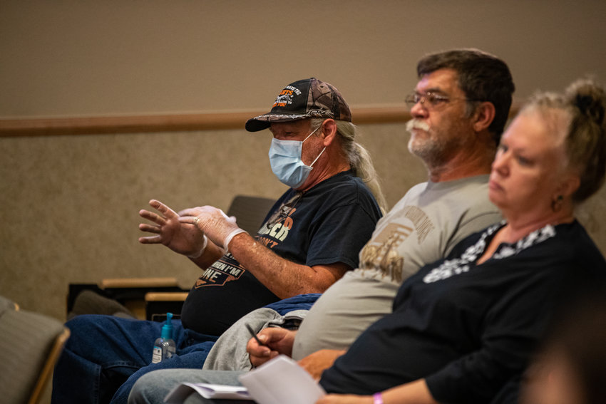 With the ongoing recommendation of keeping groups to fewer than 10, the city will conduct its regular council meeting in its council chambers, 300 E. Superstition Blvd., but asks the public to watch online. Above are citizens at the March 17, 2020, meeting.