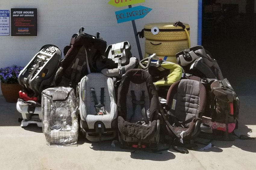 Car seats can be dropped off at locations for the Network of Neighborhood Auto Repair through Wednesday, April 15. Volunteers will take them apart at the annual recycling event on Saturday, April 18 at S & S Tire and Auto, 13323 W. Bell Road.