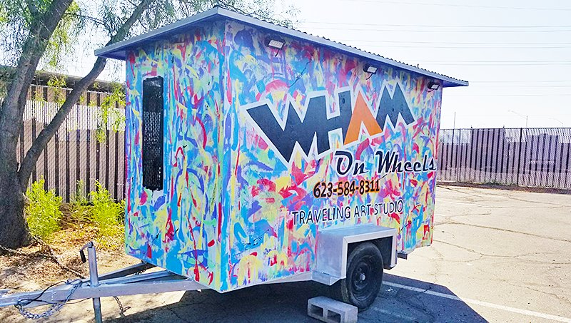 The WHAM on Wheels Traveling Art Studio trailer, pictured, was stolen last night from the WHAM headquarters in Surprise. The group's founder is seeking tips on who stole the trailer or where it may be recovered. [Submitted photo]