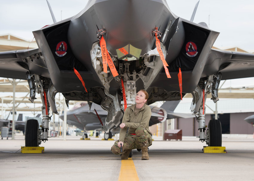 Airman 1st Class Brittany Gray, 63rd Aircraft Maintenance Unit crew chief, inspects the components of an F-35A Lightning II, March 10, 2020, at Luke Air Force Base. The unit is part of 56th Aircraft Maintenance Squadron.