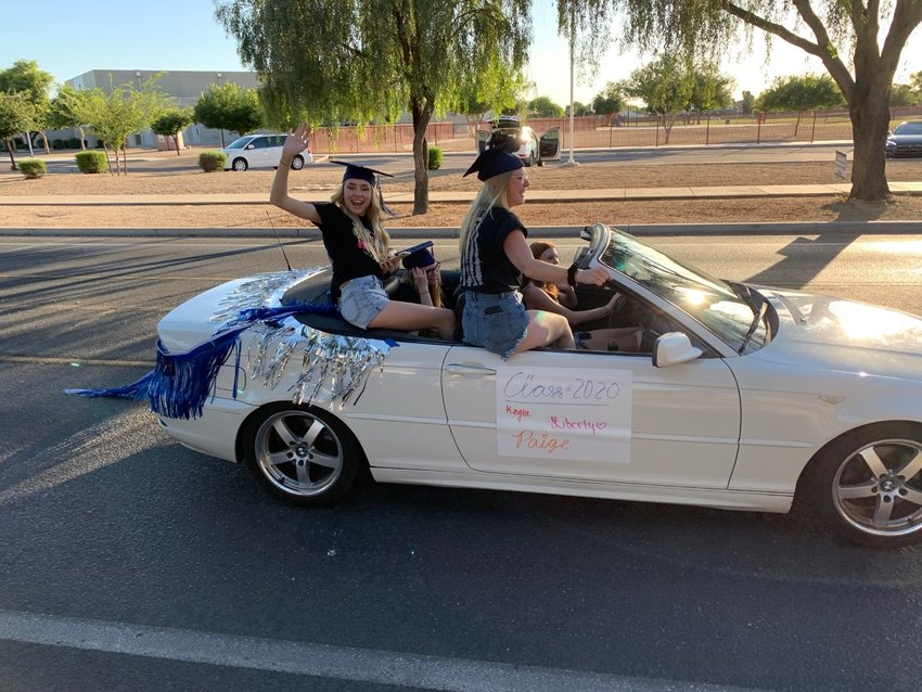 Members of the Higley High School 2020 graduating class at the parade of vehicles May 20.