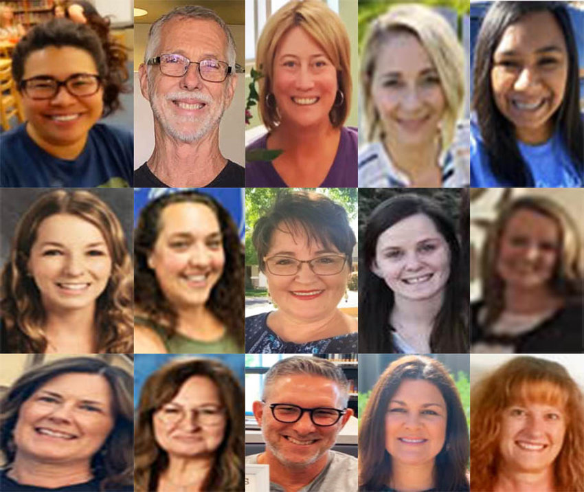 Gina Kuszmaul, Martin Williams, Jennifer Marquez, Norma Coria, Alicia Nowell, Alyson Passalacqua, Samantha Helepiko, Shirley Gibbs, Megan Sweat, Melissa Forney, Victoria Molina, Brenda Turnen, Debbie Chambers, Bruce Legge, Cameron Hodgkin, and Pam Gagnon (not pictured) are the Westside Impact Teachers of the Year.