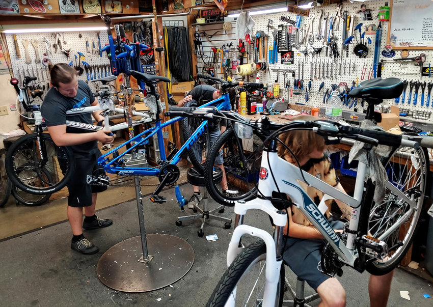 The team of Braxton Horejs, Jake Denny and Jordan Greene keep busy in the shop at Bicycle Depot of Arizona.