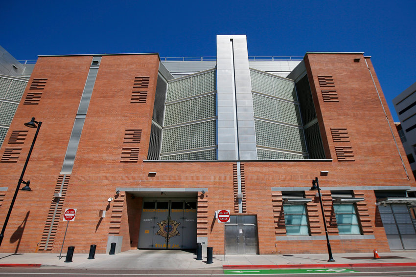 This March 21, 2020, file photo, shows the Maricopa County 4th Avenue Jail in downtown Phoenix.