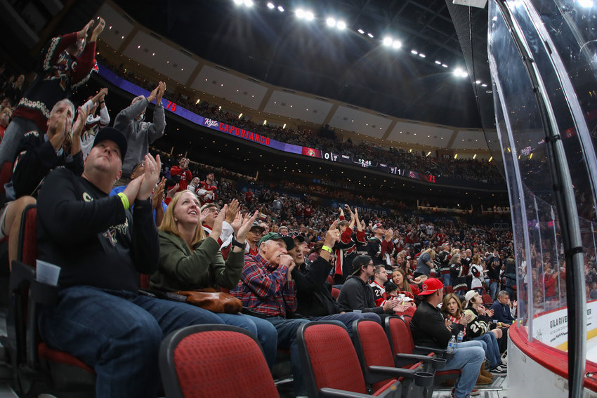 Fans cheer after an Arizona Coyotes goal against the Ottawa Senators on Oct. 19, 2019 in Glendale, Ariz. (Photo by Brady Klain/Cronkite News)
