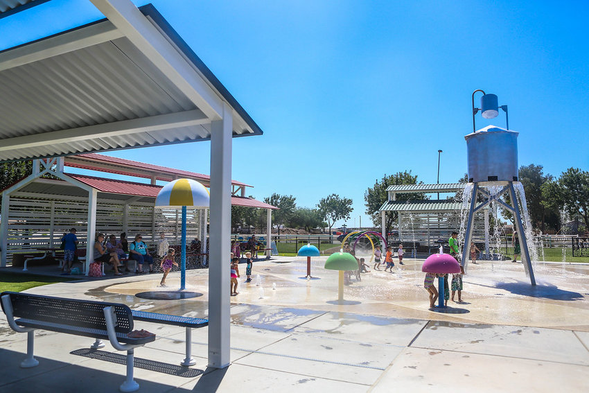 Queen Creek has splash pads at Founders' Park, 22407 S. Ellsworth Road (above) and .Mansel Carter Oasis Park, 19535 E. Appleby Road.