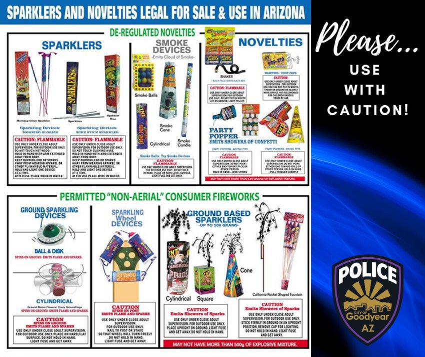 Graphic released by Goodyear Police Department lists fireworks permitted for personal use in the city.