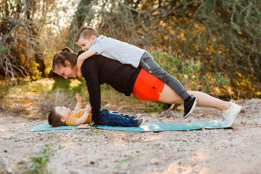 Barefoot Fitness owner Melanie Lehmer with her children.