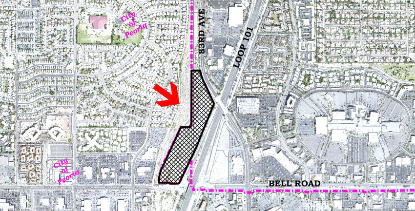 The highlighted area of this aerial photograph is the 16-acre property northwest of Loop 101 and Bell Road planned for the Glendale Bell 101 apartment complex on the Glendale-Peoria border. The property is just west of the Arrowhead Towne Center shopping center. [Submitted photo/City of Glendale]