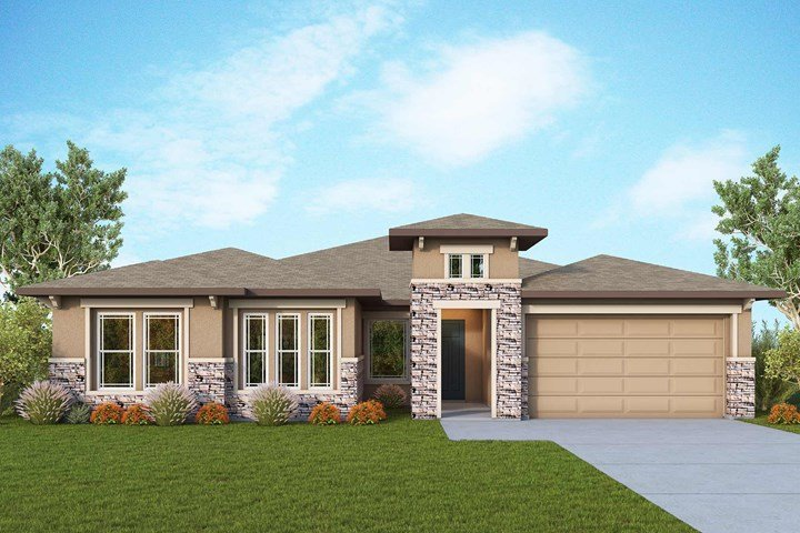 An example of the exterior of a The Azalea home. The builder's two fully furnished model homes, The Azalea and The Tranquility, are open daily for both in-person and virtual tours