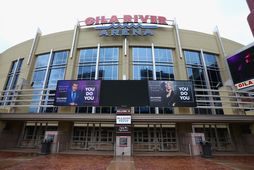 The Gila River Arena, home of the Arizona Coyotes hockey team, is pictured Thursday, March 12, 2020, in Glendale, Arizona.