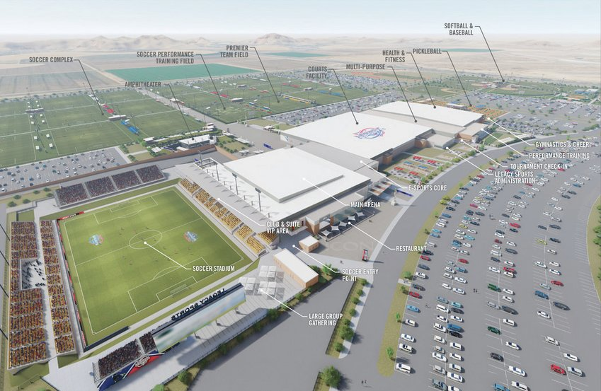 The 320-acre Legacy Sports Park, breaking ground Friday in Mesa, will include a soccer stadium, bottom left in this artist's rendering, and a 21-field soccer complex, top left, as well as dozens of other sport courts and fields and entertainment venues. [Submitted photo]