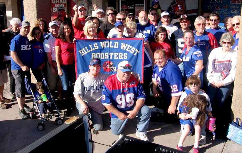 The Bills Wild West Backers meet for Bills games at Pullano's Pizza in Glendale, like in this past photo in the pre-coronavirus days.