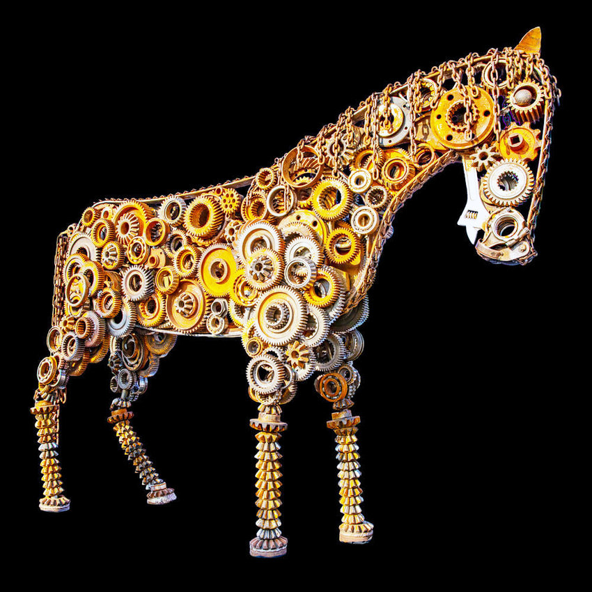 The works of sculptors Jackie and Charles Nipper include pieces created from scrap metal, wiring, bolts, nuts and stone.