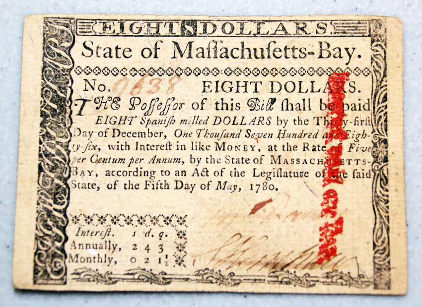 This piece of colonial currency in the Litchfield Park Historical Society and Museum's collection dates to 1786.