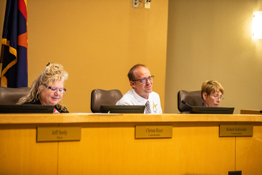 Councilmembers Christa Rizzi, Robert Schroeder and Robin Barker at a recent council meeting.