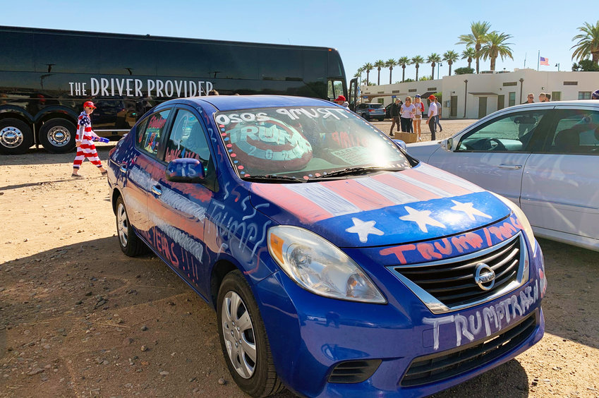 Rally-goers began arriving at the parking lot near Litchfield Park City Hall early Wednesday morning to board shuttles for the Trump campaign rally at Phoenix Goodyear Airport.