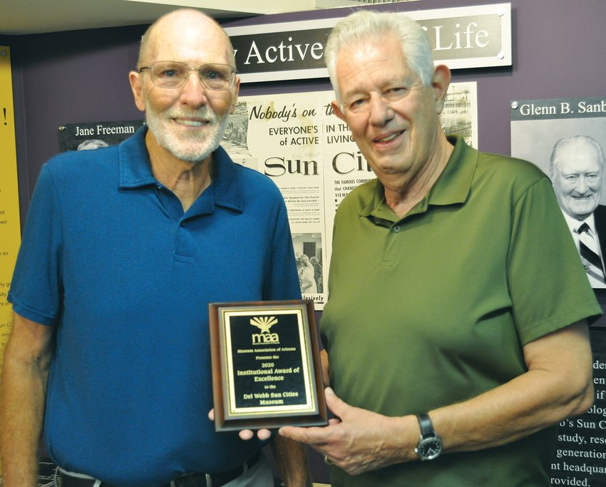 The Museum Association of Arizona presented its Institutional Award of Excellence for 2020 to the Del Webb Sun Cities Museum during an Oct. 29 virtual celebration. Accepting the award for the museum are, from left, Vice President Paul Herrmann and President Don Tuffs.