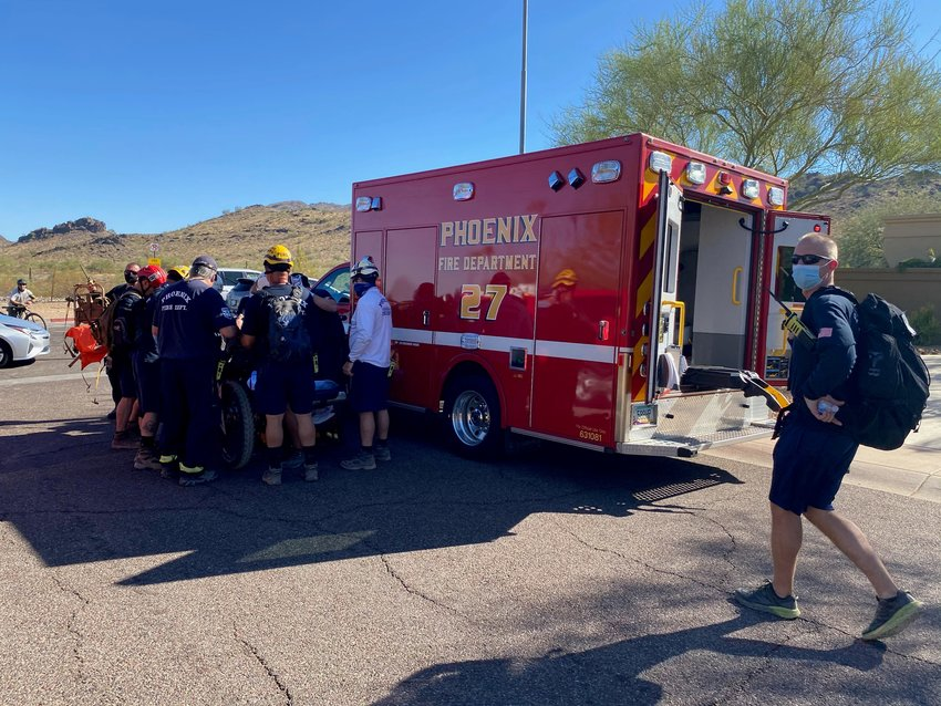 Members of the Phoenix Fire Department Monday morning rescued an injured female in the Phoenix Mountain Preserve.