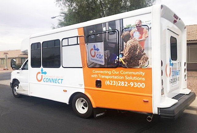 Thanks to a generous donation, Northwest Valley Connect was recently able to complete the decorative wrap on its newest transport van. [Courtesy of Northwest Valley Connect]