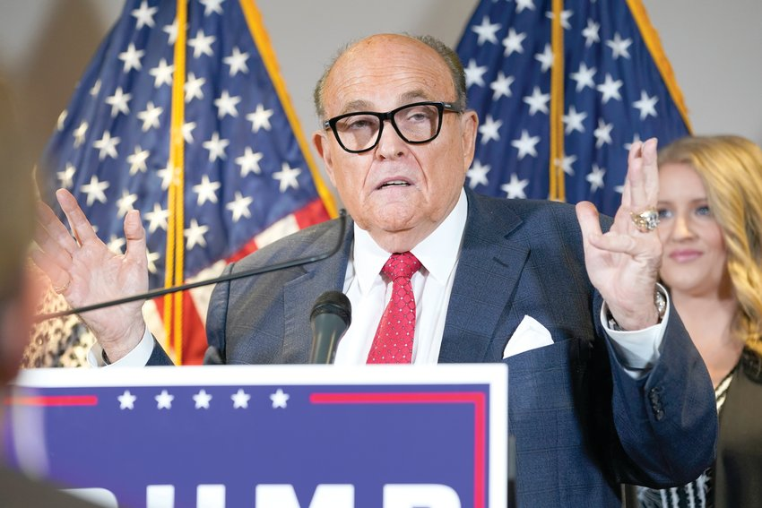 In this Nov. 19, 2020 file photo, former Mayor of New York Rudy Giuliani, a lawyer for President Donald Trump, speaks during a news conference at the Republican National Committee headquarters in Washington. [The Associated Press]