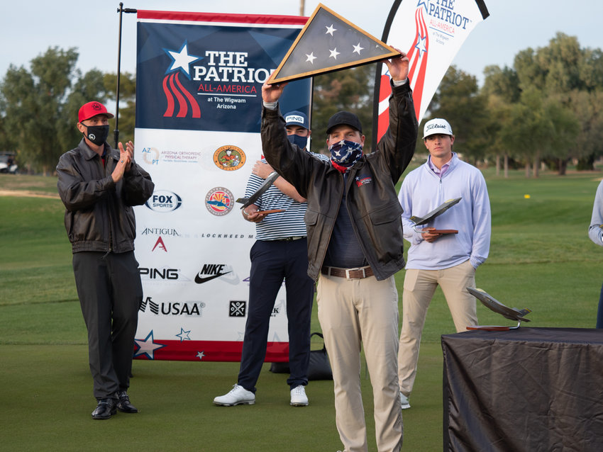 2020 champion Graysen Huff, a senior from Auburn University, celebrates his Patriot All-America Golf Invitational win Dec. 31.