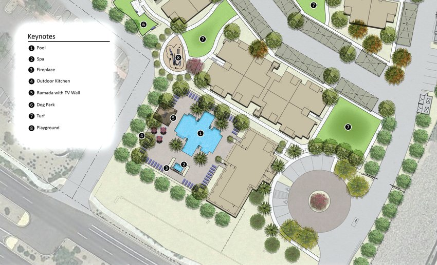 A rendering of the amenities for the proposed The Place at Camino a Lago apartment community.