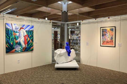 """WEST—Arizona Artists of Color"" is on display at the Civic Center Public Gallery inside the Scottsdale Civic Center Library. Photo: Scottsdale Arts."