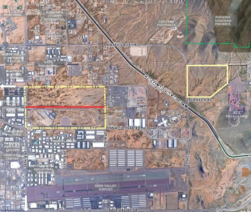 The yellow highlighted properties on this map are state trust land that Phoenix rezoned last month for more flexible business uses to increase the land's value before its auction. The southern portion of the western property, south of the red dividing line, is used as a crash test facility and will not change under the rezone. The north portion of that property and the eastern property are both planned to become business parks, eligible for industrial, commerce or business park uses. [Submitted photo/City of Phoenix]
