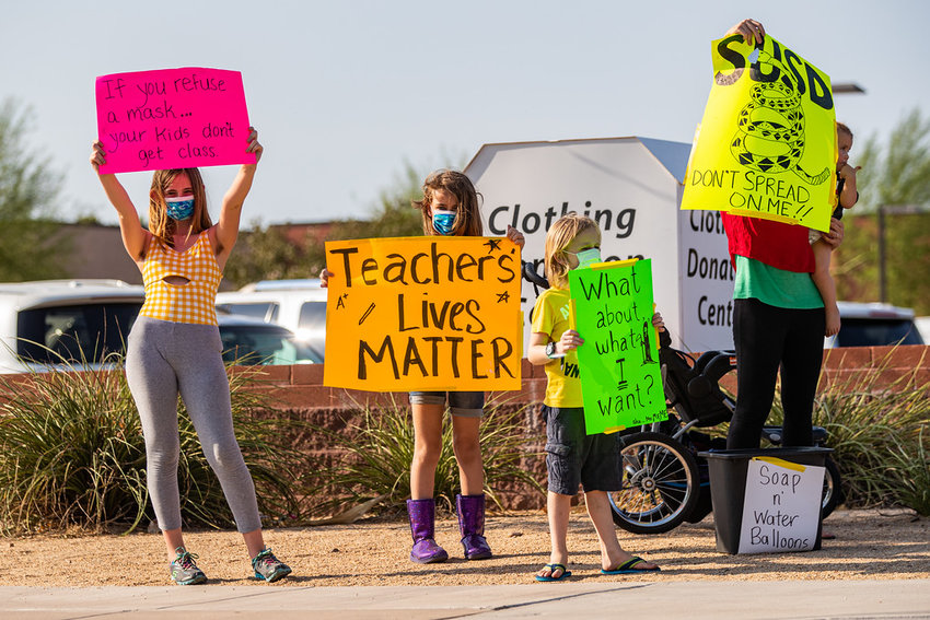 File photos from a rally held in the Scottsdale Unified School District where the Governing Board recently discussed making board meetings more efficient and time considerate.