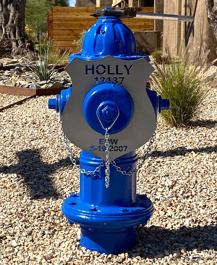 """The """"Memorial Hydrant Project"""" with its inaugural hydrant honored fallen Glendale police officer Anthony Holly, who died in the line of duty in 2007."""