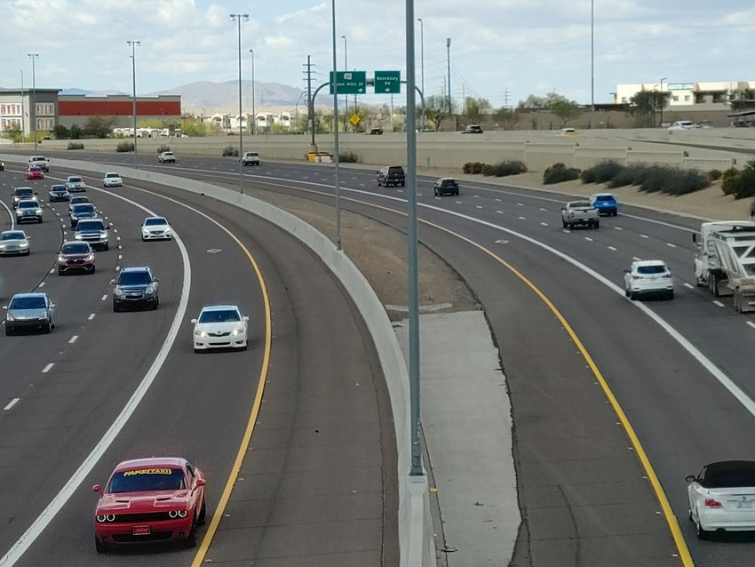Afternoon traffic motors along Loop 101 beneath 75th Avenue in north Glendale on March 16.