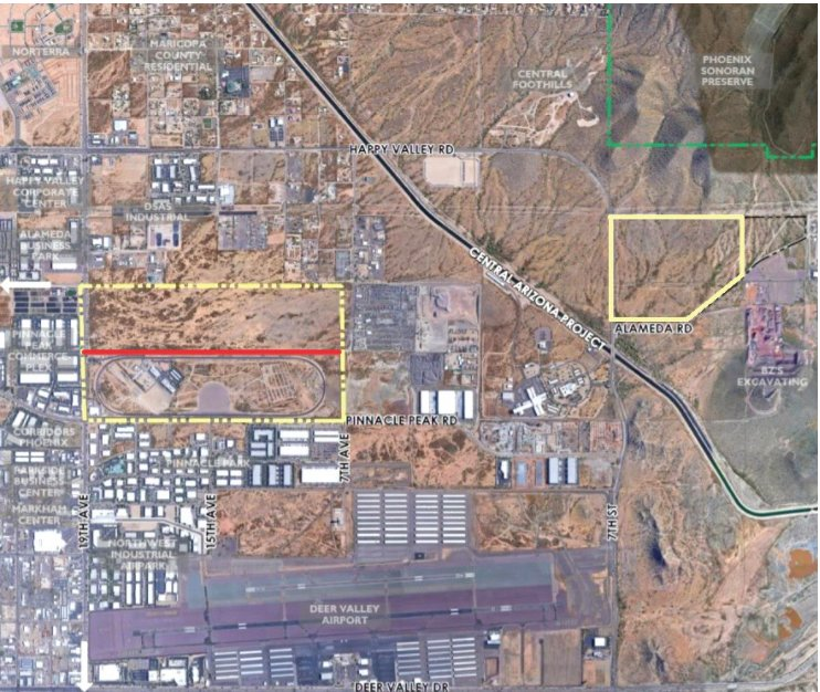 The yellow highlighted properties on this map are state trust land that Phoenix rezoned last month for more flexible business uses to increase the land's value before its auction. The southern portion of the western property, south of the red dividing line, is used as a crash test facility and will not change under the rezone. The north portion of that property and the eastern property are both planned to become business parks, eligible for industrial, commerce or business park uses.