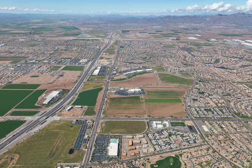 This aerial shot taken in March 2020 shows a portion of the land available in Goodyear.