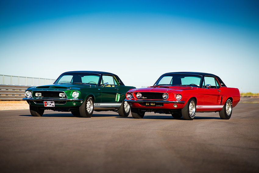 The Green Hornet, left, and Little Red were the prototypes for the Mustang GT 500 that was a partnership between Carroll Shelby and Ford Motor Co. in the late 1960s.