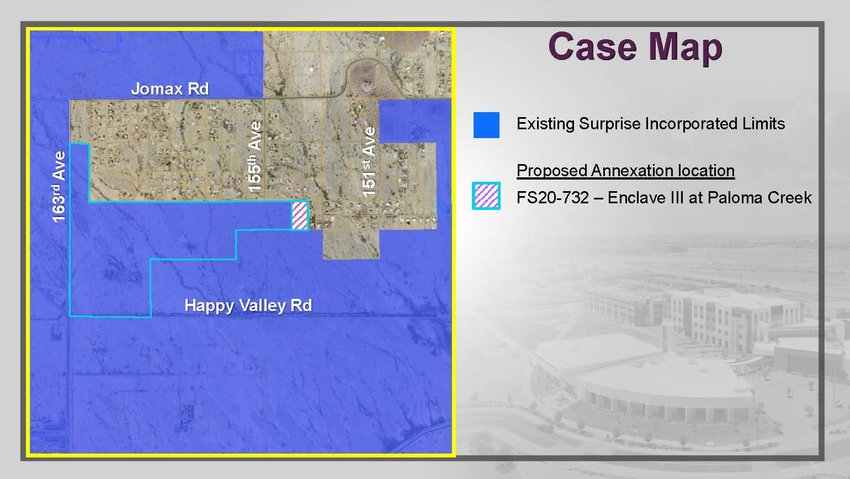 On May 18 the Surprise City Council approved the annexation of this 5.46-acre parcel (the shaded area on the map) into the city limits. Dubbed Enclave at Paloma Creek III, it is part of the larger Paloma Creek master plan.