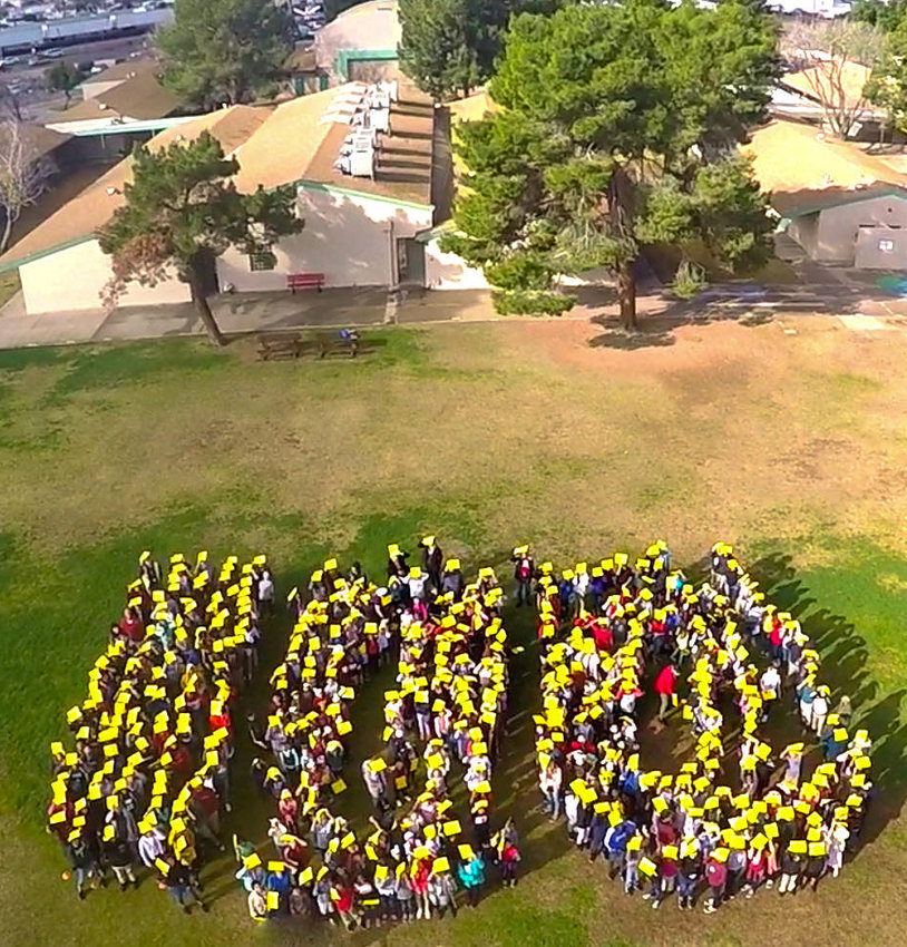 Students of Isaac E. Imes School gathered on campus back in January 2020 to mark the 100th day of school during that academic year.