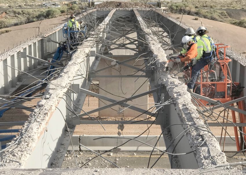 Arizona Department of Transportation crews work on the Meteor Crater and Two Guns bridge deck replacement and rehabilitation project on Interstate 40 east of Flagstaff. [Courtesy of ADOT]