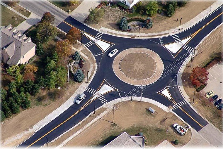 A rendered concept design of the Grove Parkway and Priest Drive roundabout.