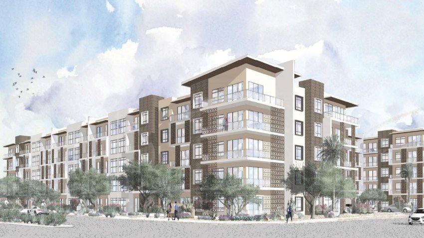 This artist's sketch depicts a proposed five-story apartment building, which would be just south of Kierland Commons in Phoenix. The sketch shows the building as viewed from the intersection of Kierland Boulevard and Greenway Parkway, with the observer looking southeast. [Submitted photo/City of Phoenix]
