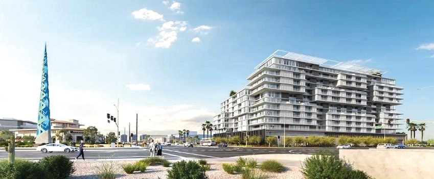 This artist's rendering shows a proposed 14-story, 157-foot apartment building at the southwest corner of Scottsdale and Bell roads, across the street from the existing 125-foot Frank Lloyd Wright Spire at the southeast corner of the intersection. [Submitted photo/City of Phoenix]