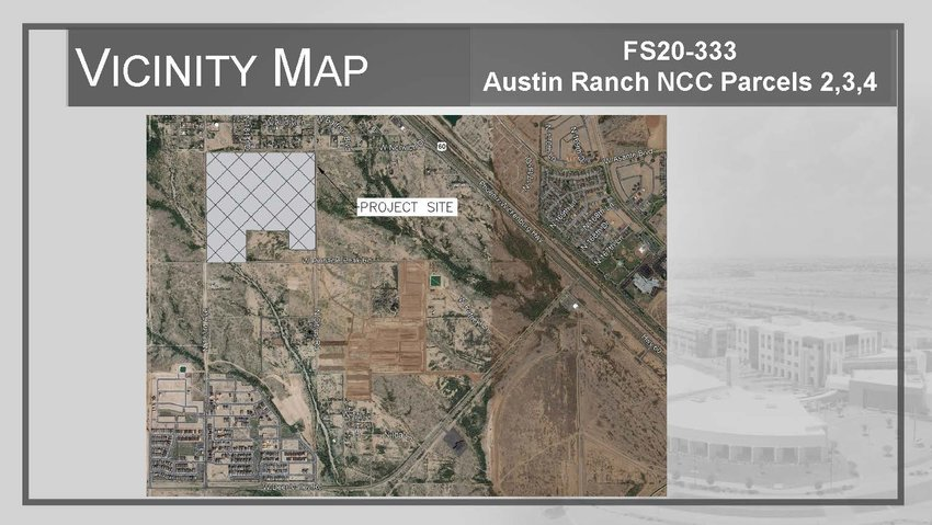 The shaded area of this locator map shows parcels 2, 3 and 4 of the North Copper Canyon development. The Surprise Planning and Zoning Commission approved a preliminary plat for these parcels at its April 15 meeting.