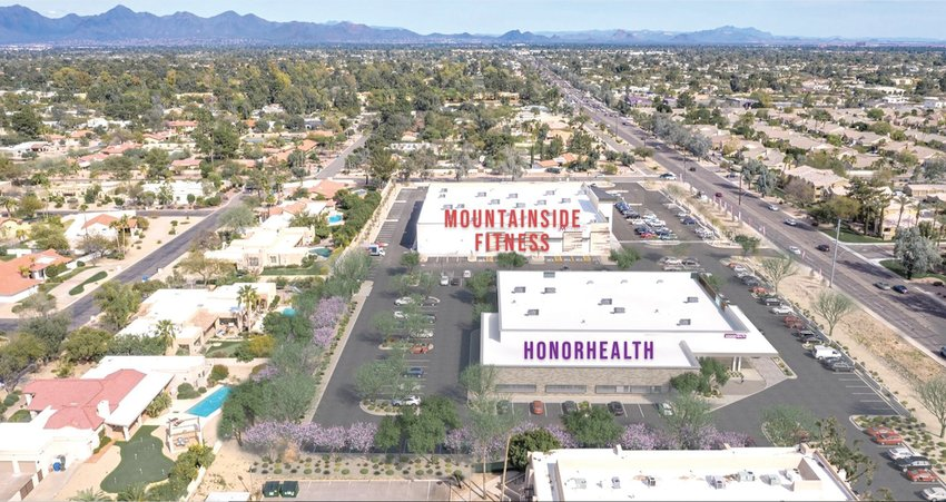This artist's rendering shows the proposed HonorHealth emergency room and medical office, 5320 E. Shea Blvd. in Phoenix, next to the now completed Mountainside Fitness gym. [Submitted photo]