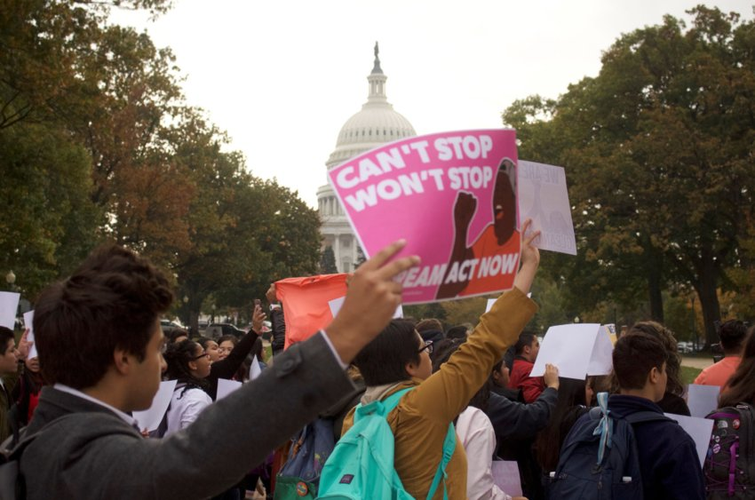 Thousands came to Washington in November 2017 to protest the Trump administration's plan to do away with DACA, the Deferred Action for Childhood Arrivals. That program, which was ultimately preserved, gives recipients authorization to work in the U.S. – but not in federal jobs or on Capitol Hill.
