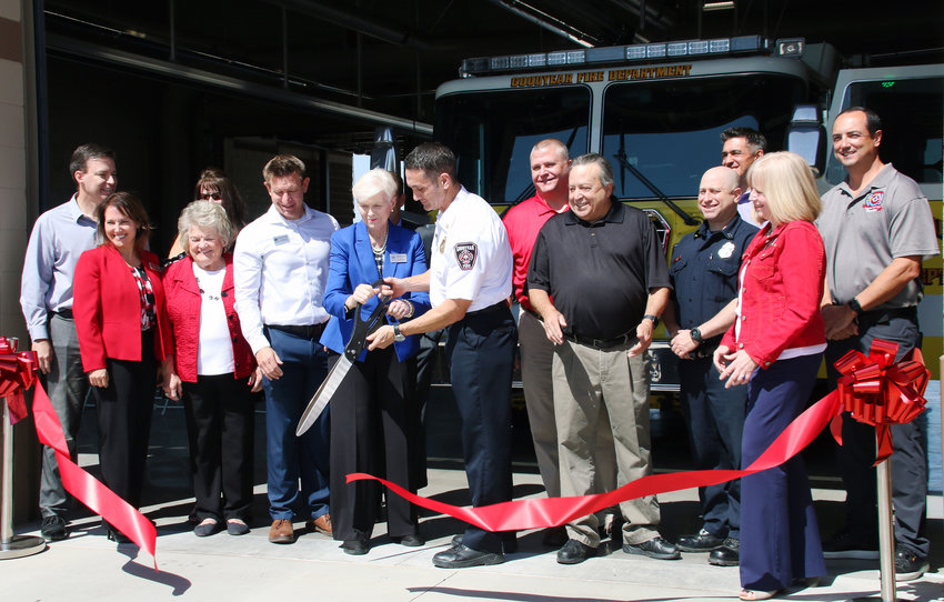 Mayor Georgia Lord and Goodyear Fire Chief Paul Luizzi cut the ribbon on Station 181 on May 13 with City Council members, City Manager Julie Karins, and representatives from fire department and union leadership, CORE Construction and DFDG Architecture.