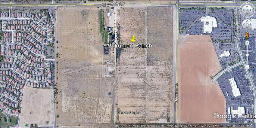 A more recent google maps view of Truman Ranch in 2018, with Sands Chevrolet east of Cotton Lane and Sarah Ann Ranch development west of 175th Avenue in Surprise. The Promenade development is proposed for the area of the citrus grove, within 120 feet of the Trumans' home. The family and neighbors have proposed a change of name for this project from Promenade to Waddell Crossing, to give some credence to the history of this location.