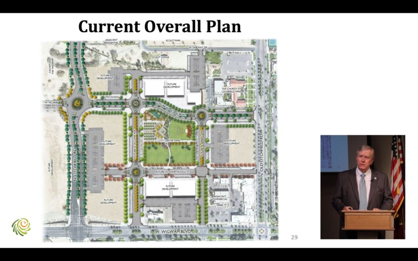 Mayor Thomas L. Schoaf discusses the City Center project during his virtual State of the City address in February.