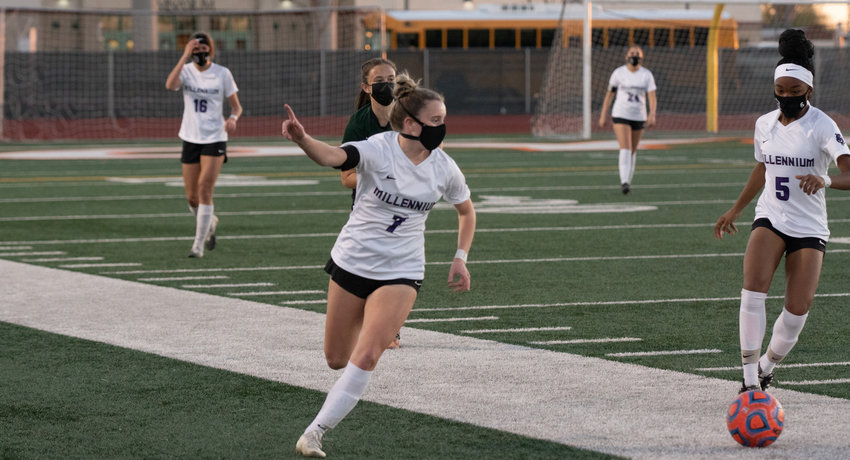 Millennium senior midfielder Gabby Sangillo directs traffic during a regular season game at Campo Verde in Gilbert Feb. 24. Sangillo was one of the first West Valley athletes to verbally commit to a college, declaring her intent to sign with North Dakota State University in late 2019. Because of this, she avoided all of the COVID-related pitfalls with college recruiting since March 2020.