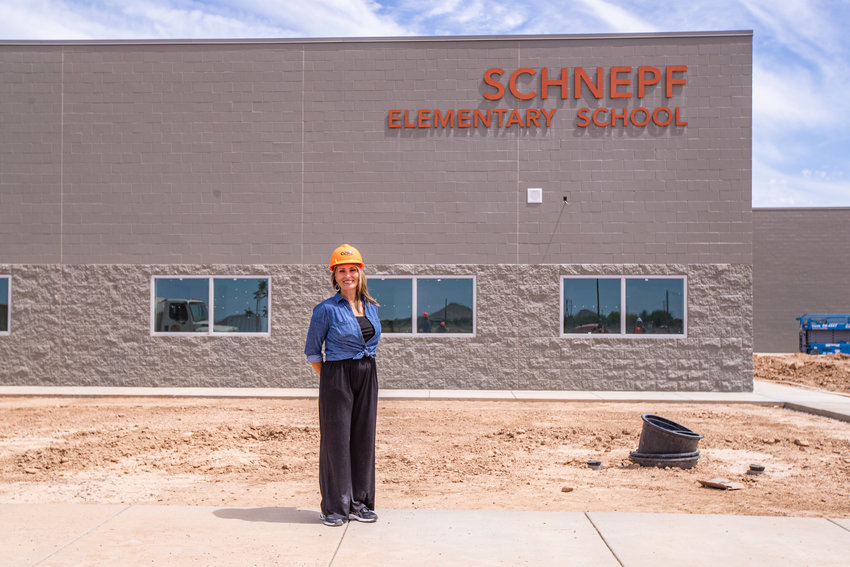 Faith Orr is the principal of Schnepf Elementary School in Queen Creek. Still under construction it is set too be ready for classes on July 21.